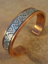 Beautiful Navajo Stamped Copper & Sterling Silver Bracelet