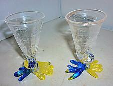 2 STUNNING UNUSUAL FUNKY SMALL BLUE YELLOW GLASS SHOT GLASSES