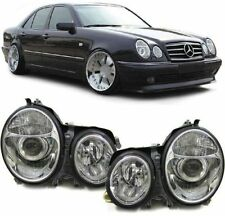 CRYSTAL / CHROME PROJECTOR HEADLIGHTS HEADLAMPS FOR MERCEDES E CLASS W210 99-02