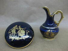 Limoges Cobalt Blue & Gilt Trinket Pot & Miniature Ewer / Jug ~ La Reine~ Lovers