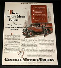 1929 OLD MAGAZINE PRINT AD, GENERAL MOTORS TRUCKS, THESE FACTORS MEAN PROFIT!