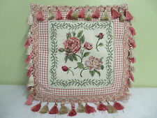 "Hand Made Pillow Needlepoint Rose Flowers Beige Fabric Backing Zipper 16"" X 15"""