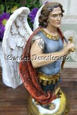 "WOW! Ornate 10"" ARCHANGEL ST. MICHAEL STATUE Prayer Rosary Box ~ UNIQUE FIGURINE"