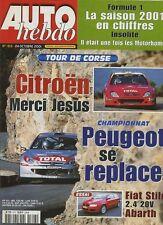 AUTO HEBDO n°1313 du 24 Octobre 2001 FIAT STILO ABARTH PORSCHE 996 TOUR DE CORSE