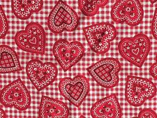 Bandana Heart Fabric Valentine's Day retro country western Love Quilt/Sew Cotton