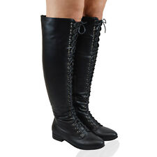 LADIES LACE UP THIGH HIGH FLAT WOMENS OVER THE KNEE HIGH COMBAT BIKER BOOTS SIZE