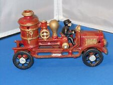 "Vintage Cast Iron Fire Truck Toy! Nice! 8"" Long!"