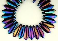 25 Czech Drop Dagger Spear Iris BluePressed Glass Beads Jewelry 5x16mm