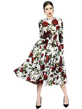 New Dolce & Gabbana Rose Print Dress UK10 IT42 Auth
