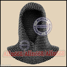 Butted Black Chainmail Coif - V Shape Chain Mail Hood Chain-Mail Armour