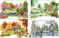 "Stamped cross stitch kit ""quatre saisons cottage"" set de 4, 24""x15"" x 4 house"