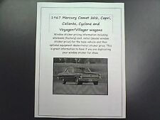 1967 Mercury Comet factory cost/dealer sticker prices for car & options $$