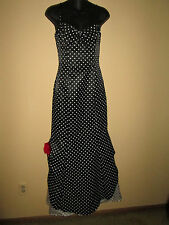 JESSICA McCLINTOCK For GUNNE SAX~Black & White~POLKA-DOT~Long FORMAL Dress~3~SML