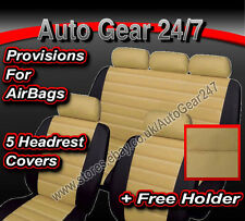 Beige Black Quilted Leather Look Car Seat Covers.5 Headrest Air Bag Suitable Set