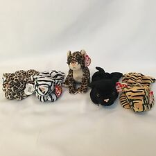 5 Ty Beanie Babies Wild Jungle Cats Blizzard Freckles Sneaky Stripes PVC Pellet