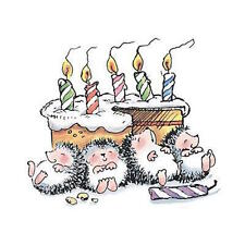 Penny Black PARTY POOPED  rubber stamp 2068K cake. hedgy. candle.