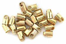 TWO 3/10 INCH LONG 1/10 INCH GOLD COLOR BOLO BOLA TIPS WITH LOOP OPENING CF324