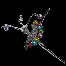 Charms Silver Plated Colorful Crystal Dancing Girl Brooch Pin For Women Gift