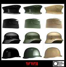 WWII WW2 Headgear Helmet Hat Cap Lot World War 2 Pack made for LEGO® Minifigure