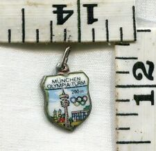 VINTAGE STERLING BRACELET CHARM~ENAMELED TRAVEL SHIELD~MUNICH OLYMPICS~$16.00!!!