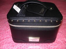 Victoria's Secret Black Studded Stud Makeup Train Case Cosmetic Bag Tote NEW WOW