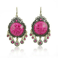 Vintage Jewelry / Jewellery Rhinestone Dark Pink Long Drop Dangle Earrings VE1