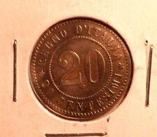 CIRCULATED 1894KB 20 CENTESIMI  ITALIAN COIN!