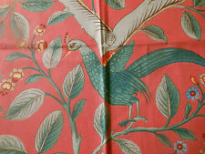 Vintage French Peacock Pea Fowl Bird Floral Fabric ~ Coral Green Blue