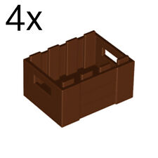 LEGO 4x Reddish Brown Container, Crate with Handholds 30150 4211185