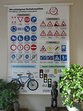 COOL PULL DOWN SCHOOL WALL CHART OF BICYCLE & ROAD SAFETY.