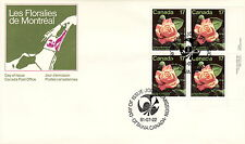 CANADA #896 17¢  MONTREAL ROSE FLORAL LR INSCRIPTION BLOCK FIRST DAY COVER