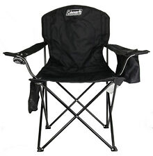 NEW! COLEMAN Camping Outdoor Oversized Quad Chair w/ Cooler & Cup Holder | Black
