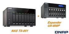 """€1341+IVA QNAP 16-Bay NAS TS-851 + UX-800P SATA 6Gbps 2,5""""/3,5"""" 2xGbE HDMI - NEW"""
