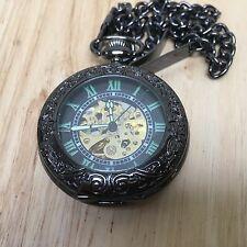 Unbranded Mens Skeleton Hand-Winding Roman Dial Pocket Watch Hours~Chain~Runs