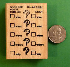 Who/What/Where/When/Why - Teacher's Wood Mounted Rubber Stamp