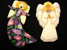 LOT OF 2 ESTATE PINS BROOCHES SCULPI & CLAY ENAMEL CRAFT VARIETY ANGELS CHERUBS