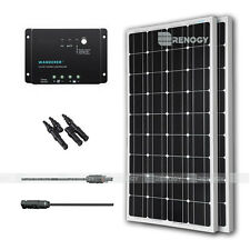 Renogy 2 100W Solar Panel Bundle Kit 200W 12V 24V Mono RV Boat Charge Controller
