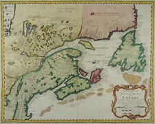 EASTERN CANADA NEW ENGLAND NEWFOUNDLAND LARGE MAP 1755 BELLIN MONTREAL QUEBEC