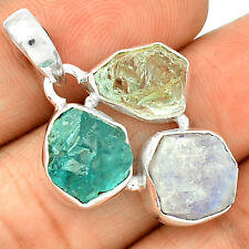 Moonstone Rough & Aquamarine Rough 925 Sterling Silver Pendant Jewelry SP212990