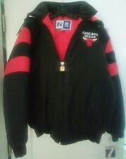 NWT Vintage '90s NBA Chicago Bulls Jacket w Hood Lics Logo 7 Coat Sz M Black/Red