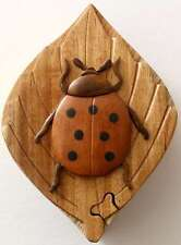 Wooden Puzzle Box- Ladybug on Leaf-FREE SHIPPING