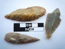 3 x Neolithic Spearheads, Saharan Flint Artifacts - 4000BC  (0928)