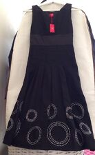 "Black Linen  Dress  BNWT Size 6 Beautiful Item Unique  15,5 "" Pit To Pit"