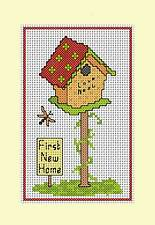 "Counted cross stitch card kit, ''New Home"" Bird House Design. 1st New Home"