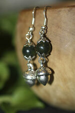 Silver Acorn & Green Jade Earrings - Pagan, Woodland, Forest God, Fertility