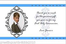 10 Personalised Communion or Confirmation Thank You Cards Boy Photo 4