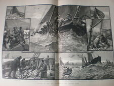 Toilers of the Sea Trawling on Dogger Bank 1883 large old print J R Wells