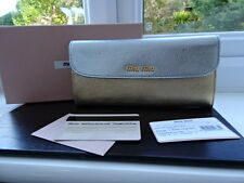 Gorgeous 100% Authentic Miu Miu Gold & Silver Leather Purse Wallet BNIB
