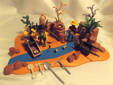Playmobil Western History Gold Rush Miners w/ River, Sleuss Box, Nuggets, Donkey