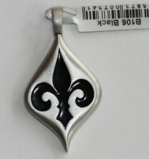BICO Australia's Fleur de lys (B106) silver plated pendant with black accent